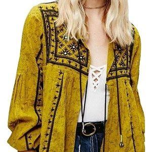 """FP """"Twilight"""" Embellished Mustard Yellow Jacket M"""